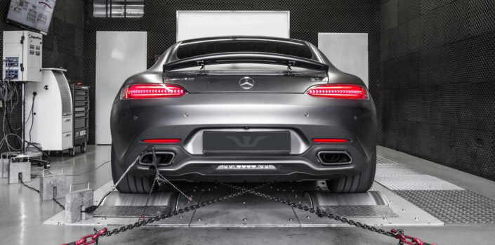 amg gts chiptuning dyno rear view