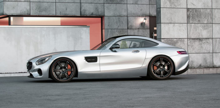 side vie silver amg gt wearing black and red 6sporz wheels in 21 inch