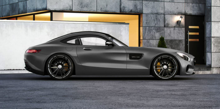side view of grey mercedes amg gts with chrom black fiwe wheelss 21 inches