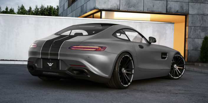 rear side view mercedes amg gt with wheels and exhaust