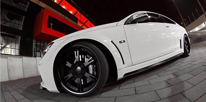 black 20 inch forged wheel on mercedes c63amg black series