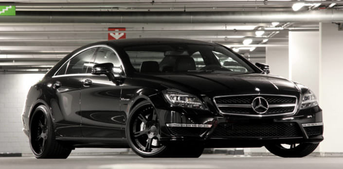 black mercedes cls63amg with tuning multipart forged wheels 6sporz