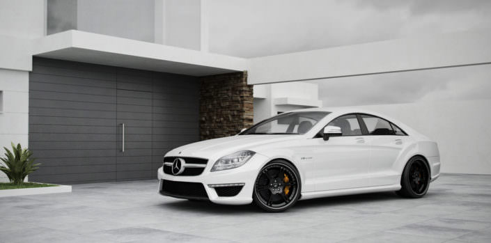 white cls property home with suspension lowering and 20 inch 6sporz² wheels
