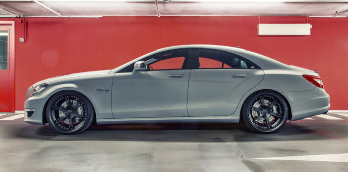 side view total mercedes cls 63 amg tuning with wheels