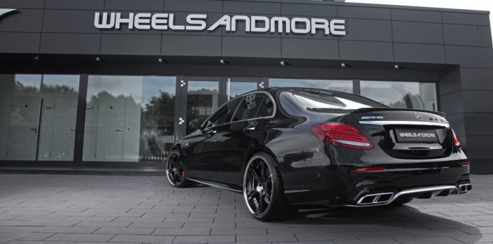 rear side view mercedes e63amg s tuning with 21 inch wheels and power upgrade 680hp