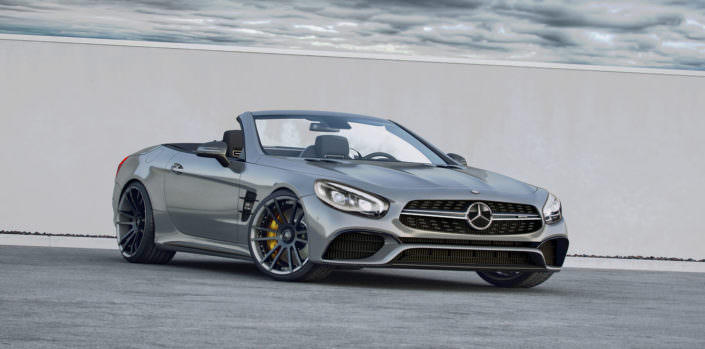 mercedes amg sl63 amg front view wit ultrawide and concave fiwe wheels 20 and 21 inches