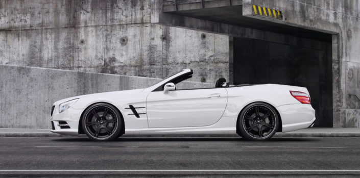 side view of mercedes sl with black wheels 6sporz