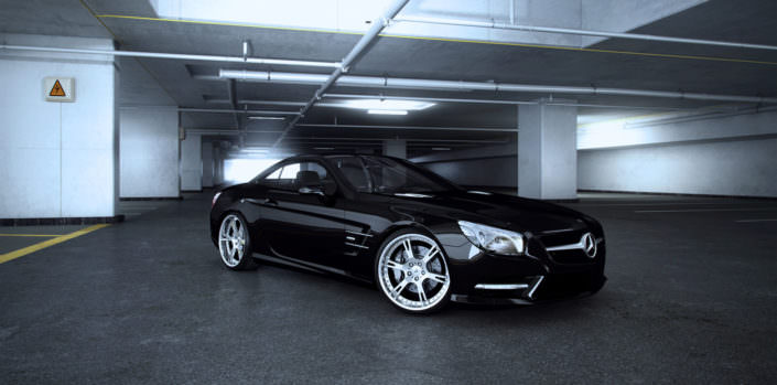 side front view black sl with chrome polished 6sporz wheels
