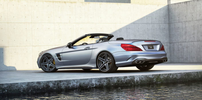 hybrid tuning wheels fivestar staggered on mercedes sl rear view with 792hp tuning
