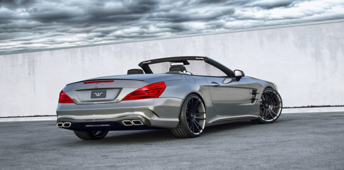 rear view sl mercedes 63amg with valve flap exhaust and power tuning