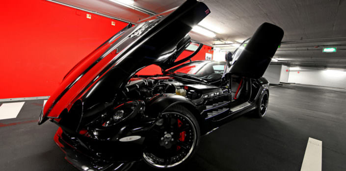 tuning of mc laren mercedes slr by wheelsandmore shown in a garage