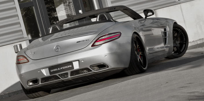 rear view of sls amg mercedes with black 21 inch 6sporz wheels