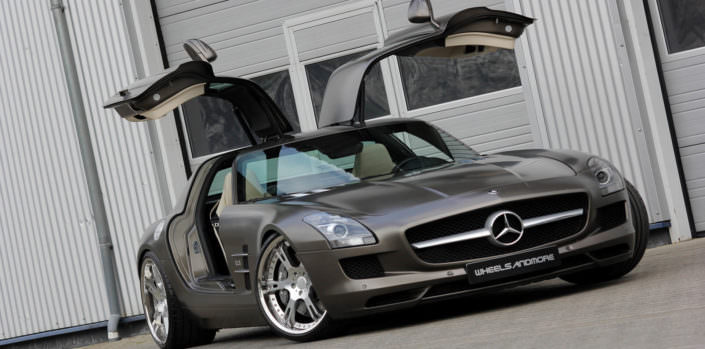 mercedes sls amg in matte brown with 21 inch 6sporz wheels