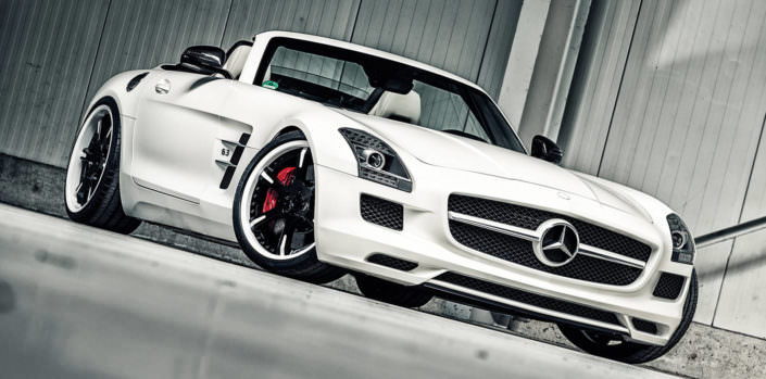 front side view mercedes sls amg roadster tuning white beauty