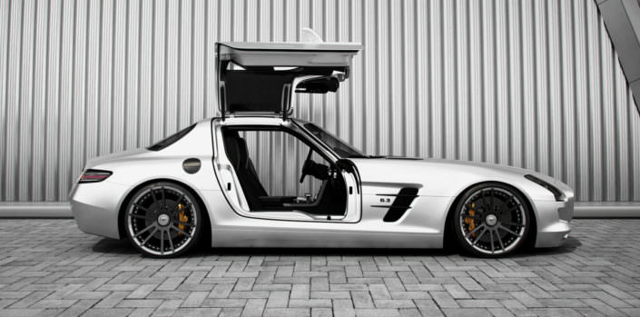 ultra concave fiwe tuning wheels on silver mercedes sls amg coupe