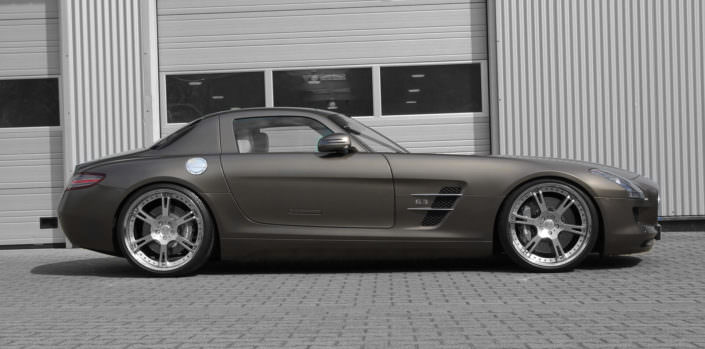 21 inch 6sporz wheels with matte clear coating on high glossy centers for mercedes sls amg