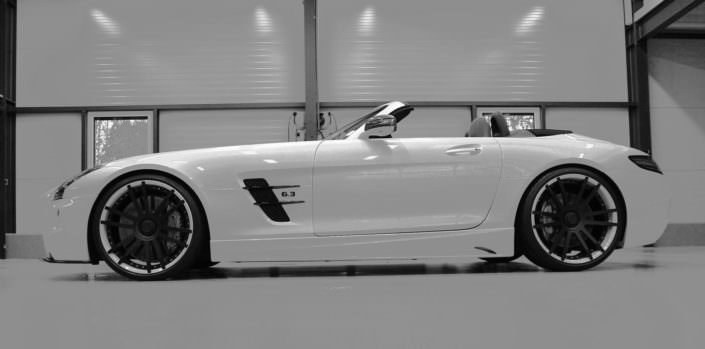 mercedes sls amg coilover on roadster with 21 inch fiwe wheels