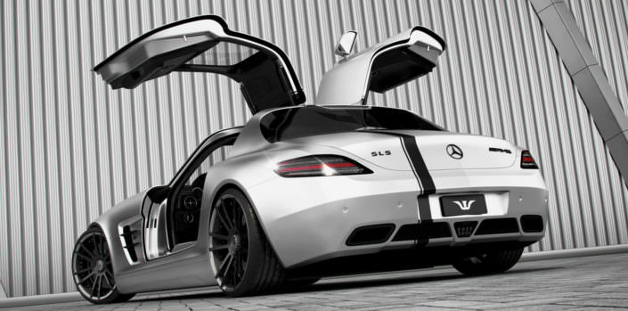 rear view mercedes sls amg silver with ultraconcave fiwe wheels