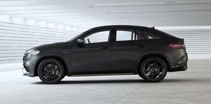 matte grey mercedes gle with tuning wheels, suspension lowering and power upgrade 792hp
