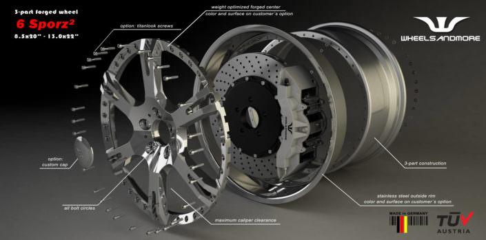 multipart fogred 6sporz wheel for mercedes s63amg