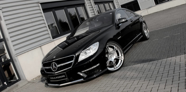 front side view black mercedes cl65amg