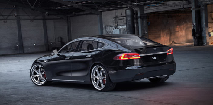 tesla s tuning with wheels and coilover suspension