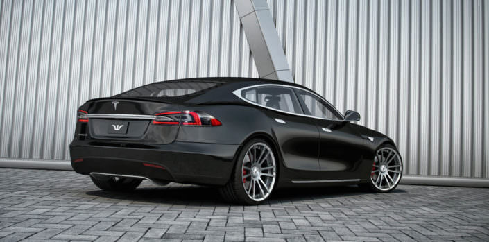 tesla s rear view black car with silver fiwe wheels 22 inches