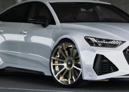 Audi RS7 C8 side view 22 inch forged wheels